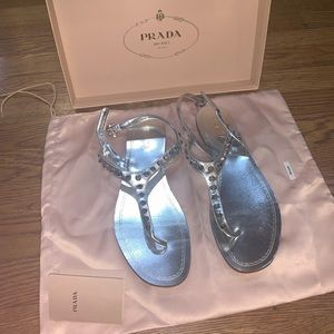 Prada Metallic Capri flat sandals